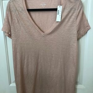 NWT J. Crew Peachy/Pink Shimmer Cotton Tee_Size L